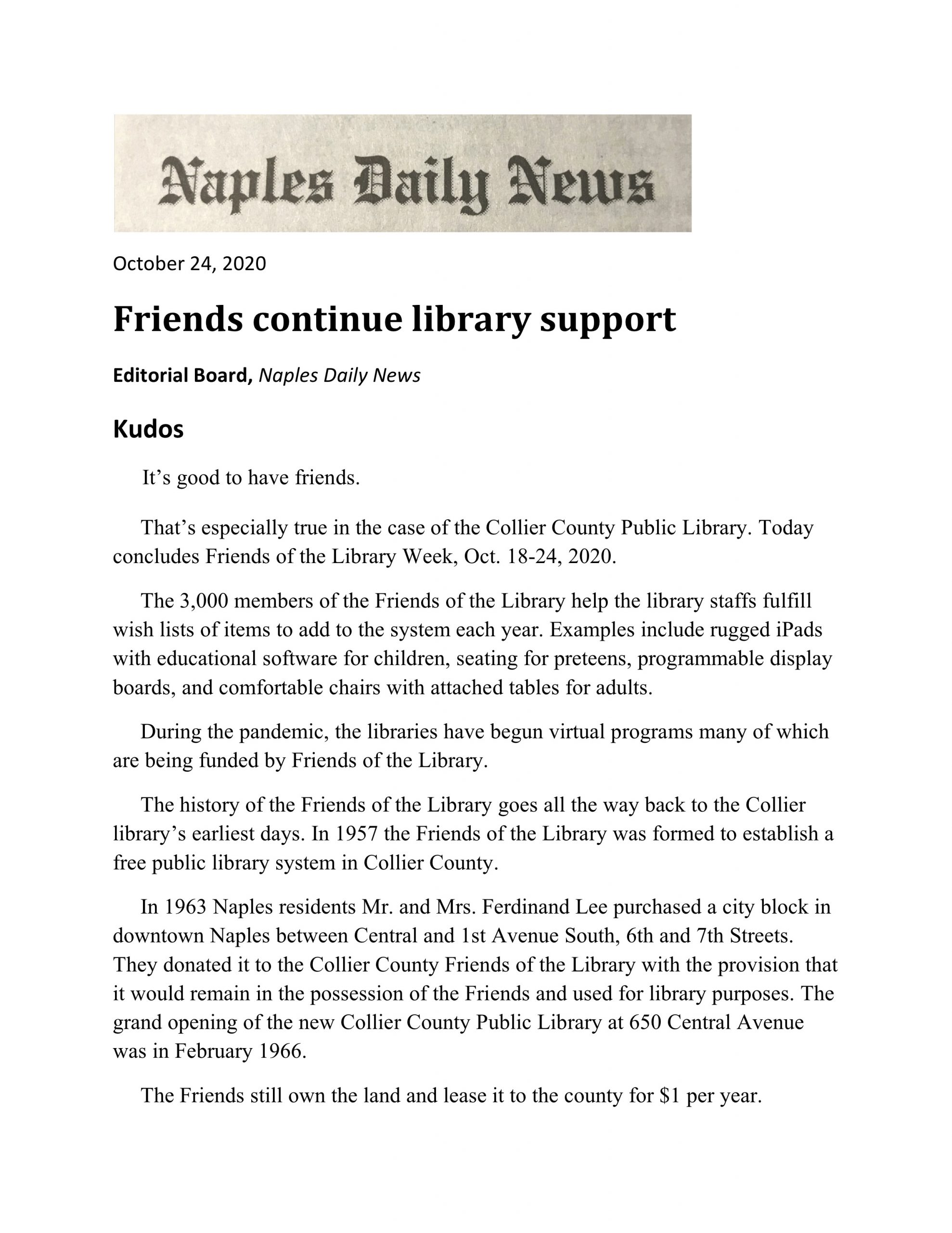 Friends Continue Library Support