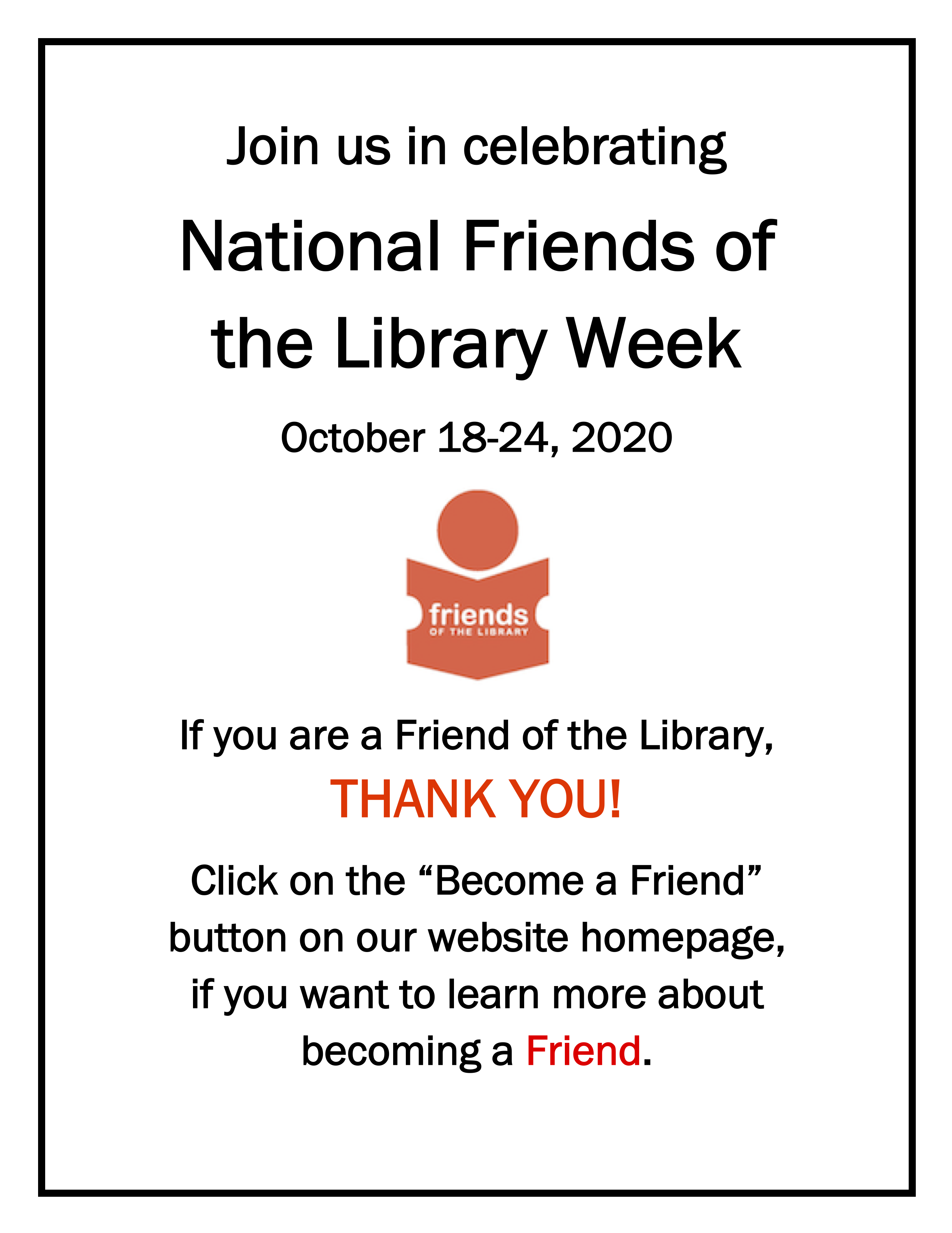 National Friends of the Library Week October 18,24, 2020