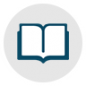 Book Icon Circle with Grey Background | Friends of the Library of Collier County