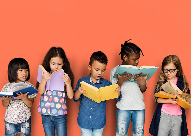 Group of Children Reading books against orange background | Donate to the Friends of the Library of Collier County