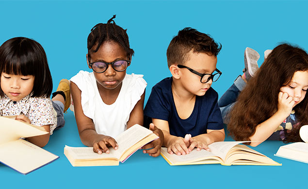 Group of Children reading against a blue background | Friends of the Library of Collier County